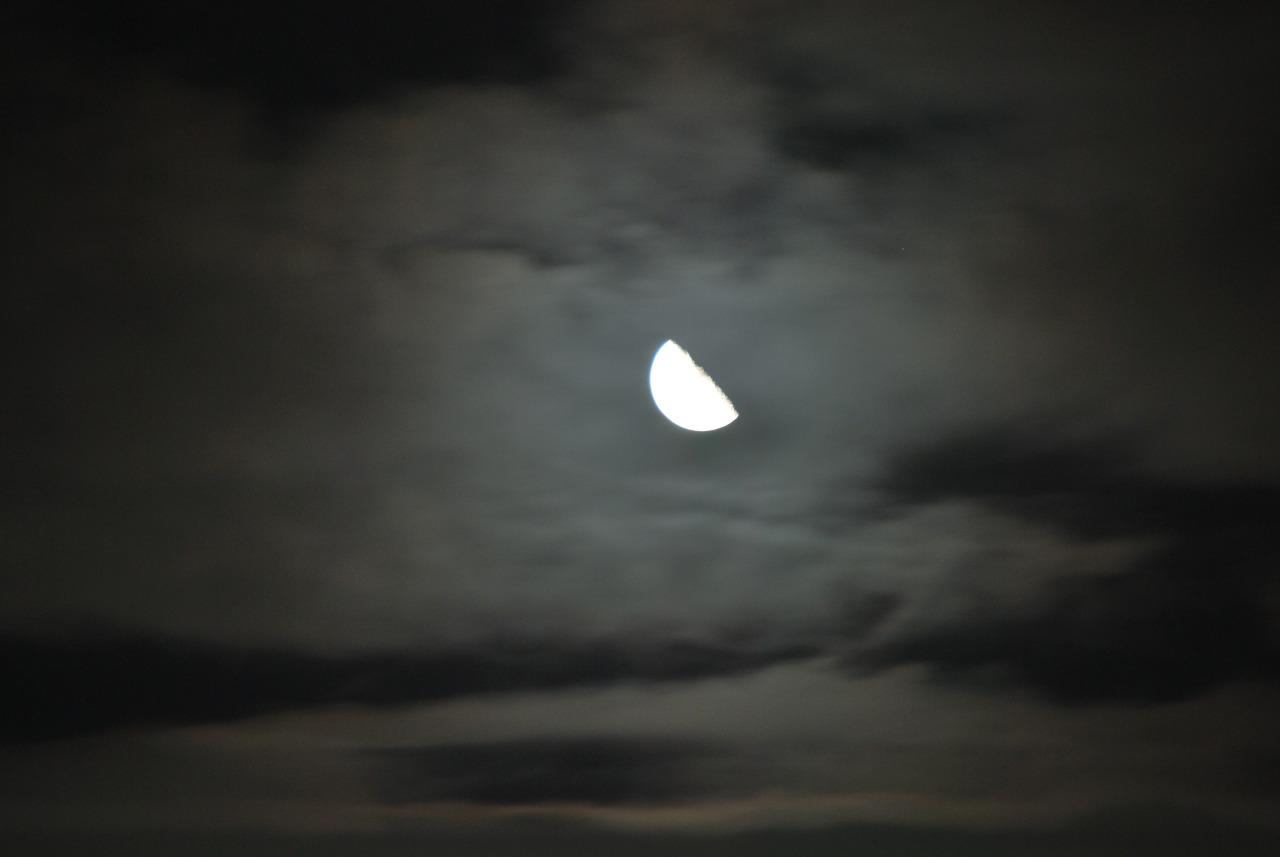 夜空に浮かぶ半月の写真